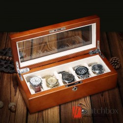 5 Slots Pieces Australian Red Cherry Pure Wood Watch Case Pillow Storage Organizer Display Box
