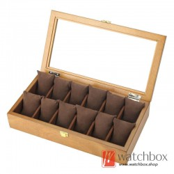 12 slots pieces vintage wood watch pilow case jewelry display storage organizer box