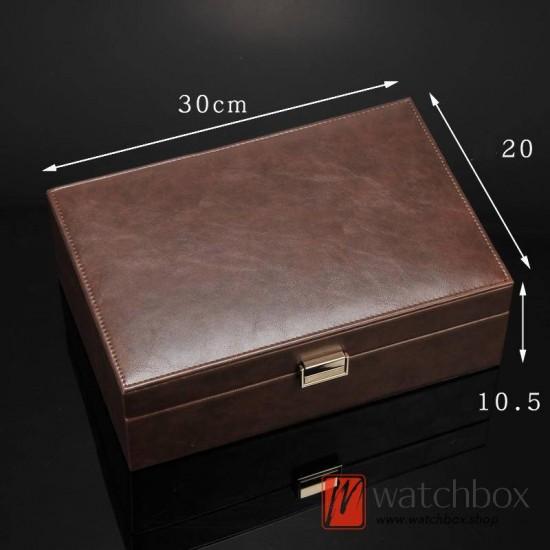 8 slots pieces leather watch case big pillow jewelry storage organizer box