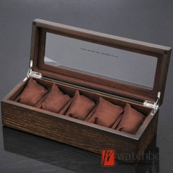 5 slots pieces wood vintage watch case big pillow jewelry storage organizer display box