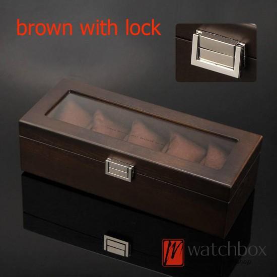 5 slots pieces wood vintage watch case big pillow jewelry storage organizer display box