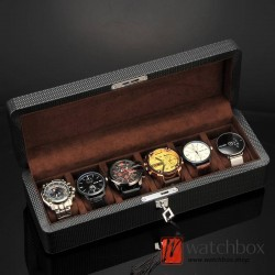 6 slots pieces carbon fiber leather watch case storage organizer lock box