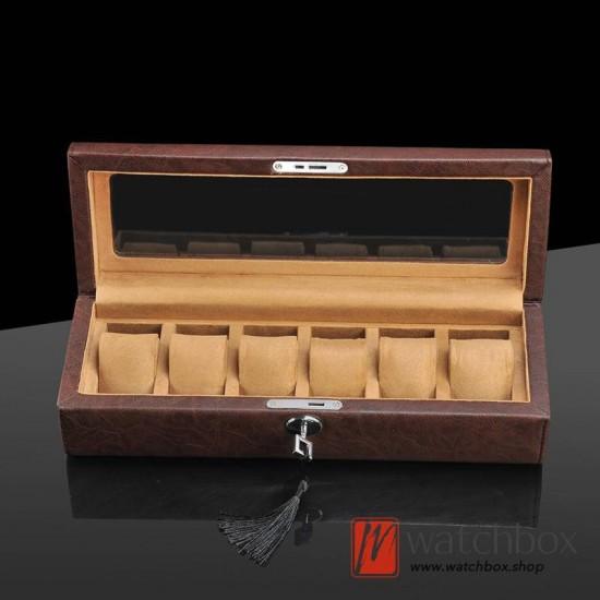 6 slots pieces Sheepskin PU leather watch case storage organizer display lock box