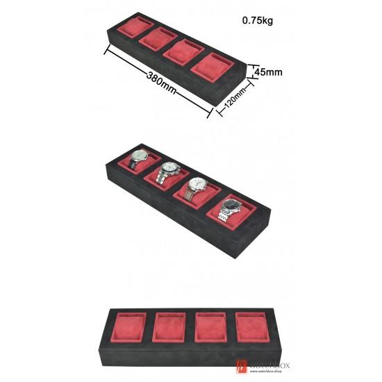 Super velvet counter wooden watch jewelry case storage display tray