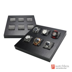 Top grade microfiber black leather counter wooden watch jewelry case storage display tray