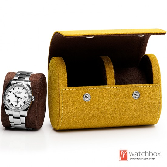 Top quality portable small suede leather watch case storage travel box