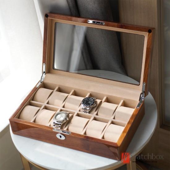 top quality 6/12 position rosewood solid wood watch storage box display box mechanical watch organizer box