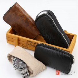 geunine leather watch case storage protection travel zipper waist bag box