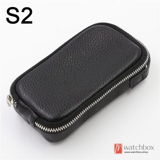 geunine leather watch case storage protection travel zipper waist bag box