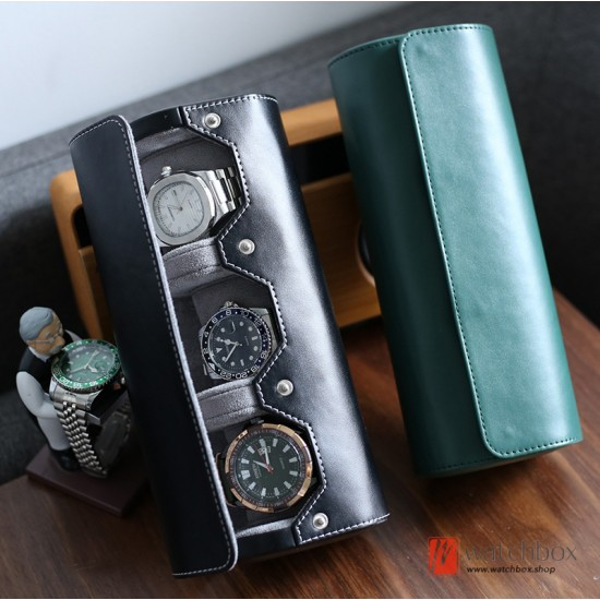 Top quality portable PU leather 3 slots watch roll jewelry cufflinks rings case storage travel box