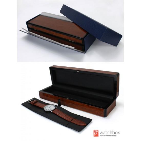 vinatge long bright paint wood leather watch jewelry case storage gift box