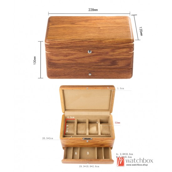 Double layer drawer full solid wood rosewood 4 slots watch jewelry case storage box