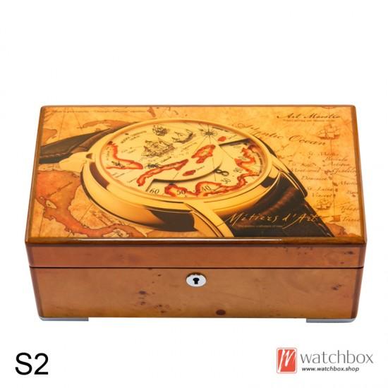 Vintage luxury piano paint pattern solid wood 4 slots watch jewelry case storage organizer box home decoration