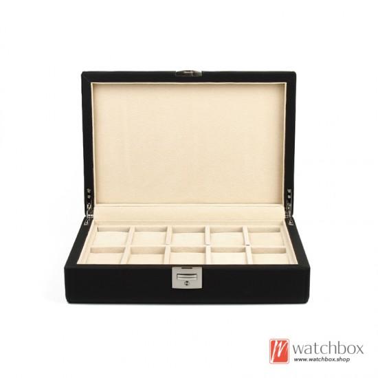 10 Grids High Quality PU Leather Watch Case Jewelry Organizer Storage Display Box With Lock