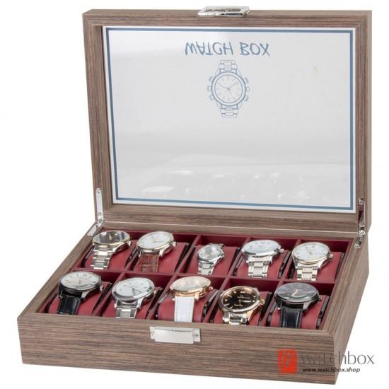 10 Slots Black Walnut Wood Watch Case Storage Organizer Display Box