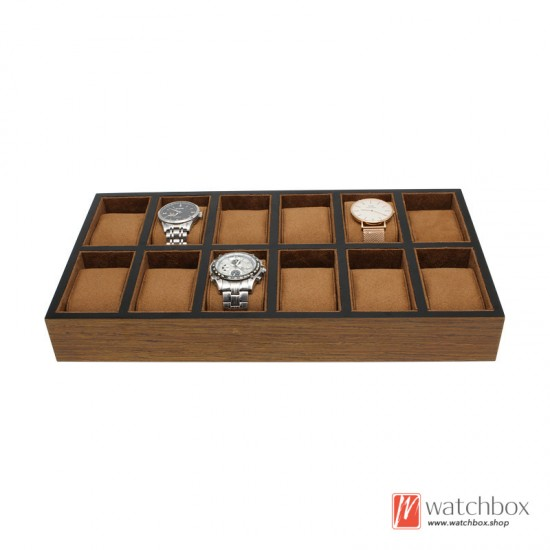 6/12/18/30 grids solid wood watch jewelry shop case storage display tray