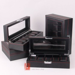 high-grade black carbon fiber leather watch storage display organizer box