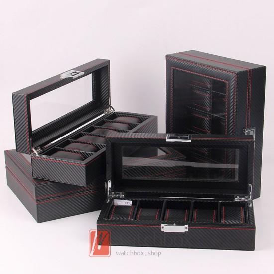 high-grade black carbon fiber leather watch storage display organizer box