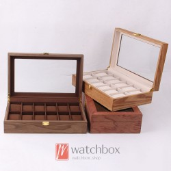 12 slots vintage wood watch jewley case storage organizer display box