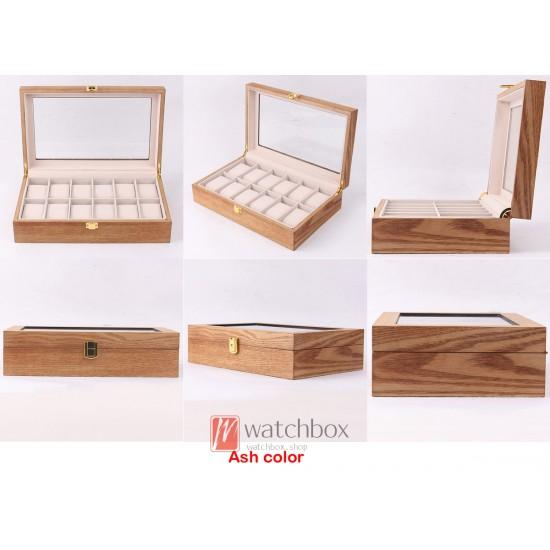12 slots vintage wood watch jewley case storage organizer display box