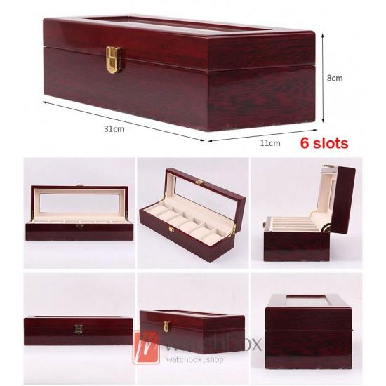 2/3/5/6/10/12 slots red wood watch case storage organizer box