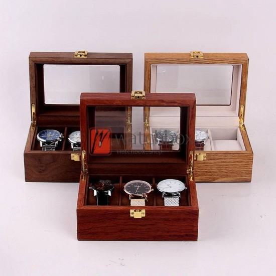 2/3 slots pieces high quality crude wood watch case storage dispaly organizer box