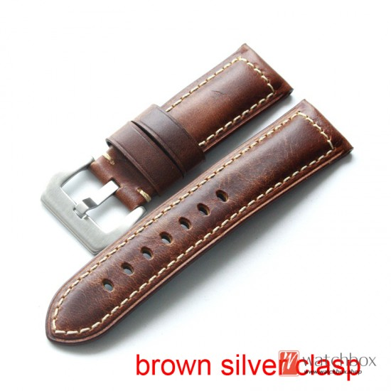 handmade geunine crazy horse leather wacth strap belt watchband for brand watches