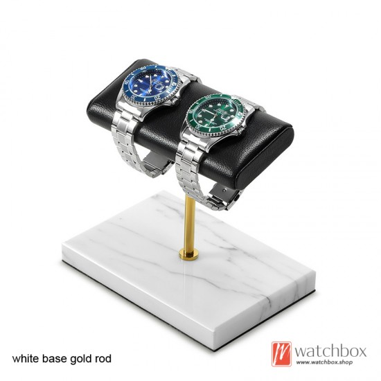 The Luxurious Marble Gunine Cow leather Watch Stand Holder Counter Display Stand