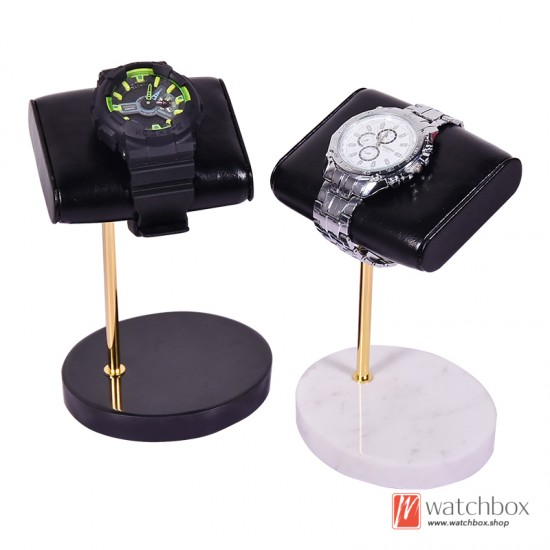 The Luxurious Round Marble Base PU leather Watch Stand Holder Counter Display Stand