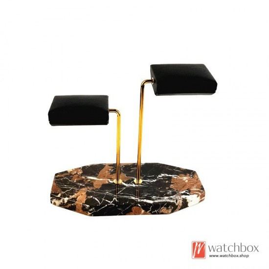 The Luxurious Polygon Marble Base PU leather Double Support Watch Jewelry Stand Holder Counter Display Stand