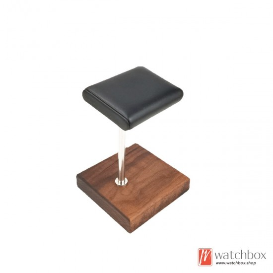 The Walnut Wood Base PU leather Watch Jewelry Case Stand Holder Counter Display Stand