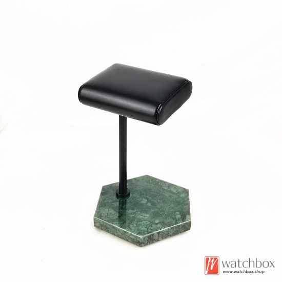 The Luxurious Hexagon Marble Base PU leather Watch Jewelry Case Stand Holder Counter Display Stand