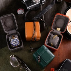 Top quality portable leather single watch jewelry case storage travle zipper square round box