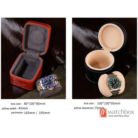 Top quality portable leather single watch jewelry case storage travle zipper square round box