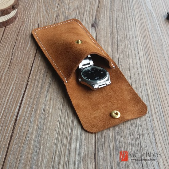 The vintage handcraft genuine cowhide leather travel single watch storage case pouch