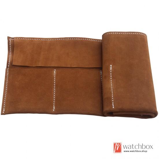 6 slots handcraft vintage genuine leather watch storage travel case pouch
