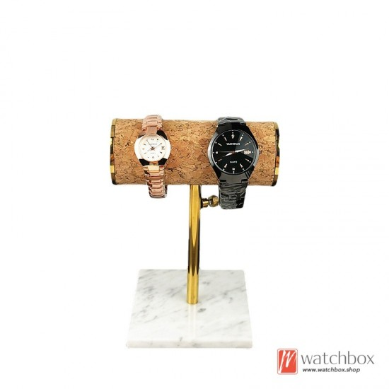 The Luxurious Marble Base Fabric Cylindrical Support Watch Jewelry Case Stand Holder Counter Display Stand