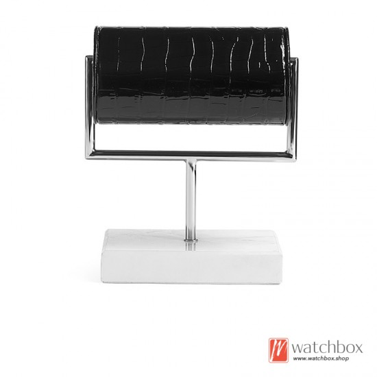 The Luxurious Rectangle Marble Base Flannel Leather Support Watch Stand Holder Counter Display Stand
