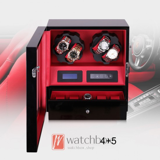 Premium Auto Turntable Open Cover self-stop LED Light Shaker with Drawer Watch Winder Box