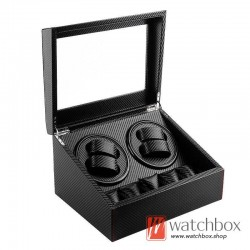 premium black carbon fiber leather auto mechanical watch winder storage display box 4+5
