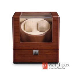 Top quality wood auto rotate mechanical watch winder case storage display box 2+0