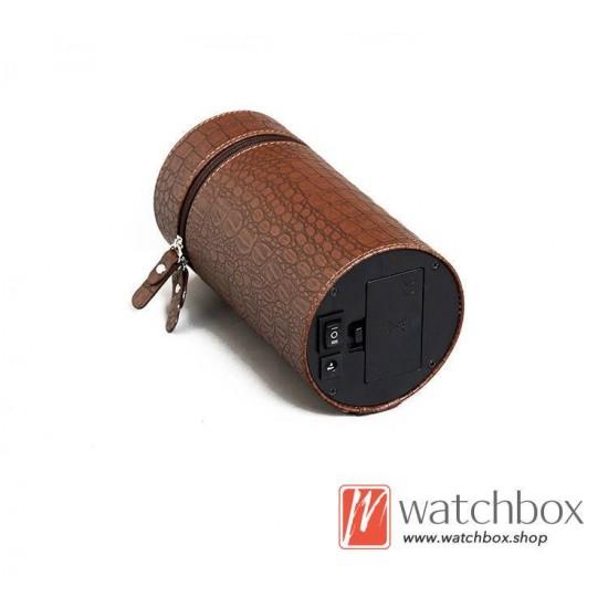 high grade crocodile pattern leather round auto rotate mechanical watch winder storage shake box
