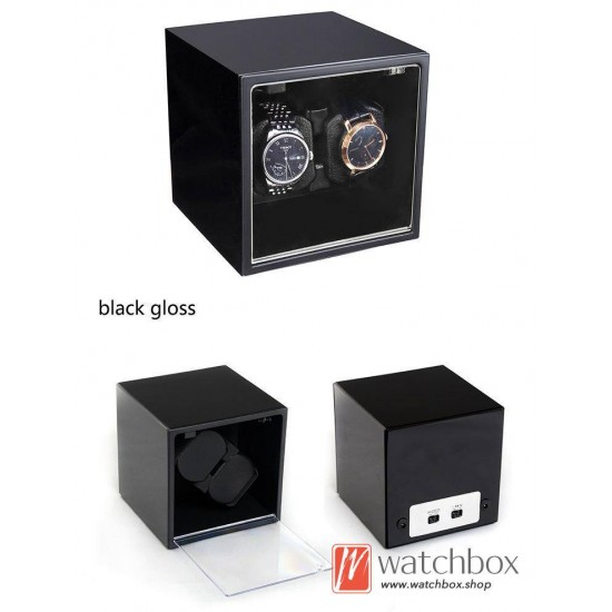 high grade square auto rotate mechanical watch winder storage shake box 2+0