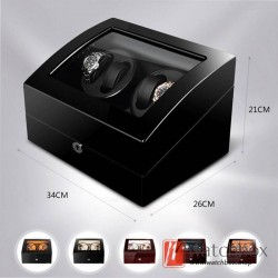 Top quality Carbon fiber Leather Premium Automatic Rotate Watch Winder Wood Glass Display Watch Box 4+6