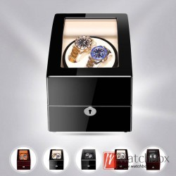 Top quality Premium Automatic Rotate Wood Mechanical Watch Winder Arc Glass Watch LED Display Box With Lock 2+3