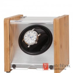 Top quality Bamboo wood Automatic Rotate Mechanical Mini Watch Case Winder Display Box 1+0