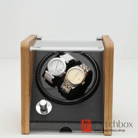 Top quality Automatic Rotate Mechanical Mini Bamboo Wood Watch Case Winder Display Box 2+0