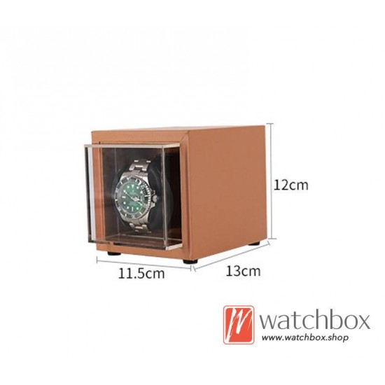 Top quality PU leather Automatic Rotate Mechanical Mini Watch Case Winder Display Box 1+0