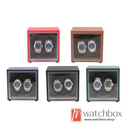 Top quality PU leather Automatic Rotate Mechanical Mini Watch Case Winder Display Box 2+0
