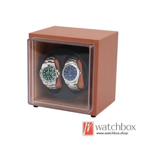 Top quality PU leather Automatic Rotate Mechanical Mini Watch Case Winder Display Box 2+0